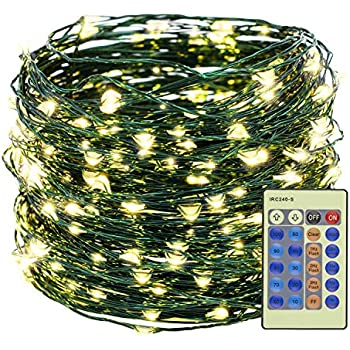 Decute Warm White 300LED Christmas String Lights 99FT Green Wire Dimmable with Remote Control, UL Cerficated Plug in Fairy Starry Lights Decorative for Christmas Tree Party Wedding Indoor Outdoor