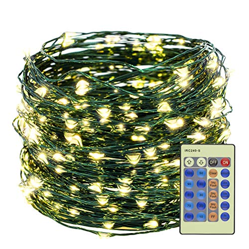 Decute Warm White 300LED Christmas String Lights 99FT Green Wire Dimmable with Remote Control, UL Cerficated Plug in Fairy Starry Lights Decorative for Christmas Tree Party Wedding Indoor Outdoor (String Christmas Lights Starry Tree)