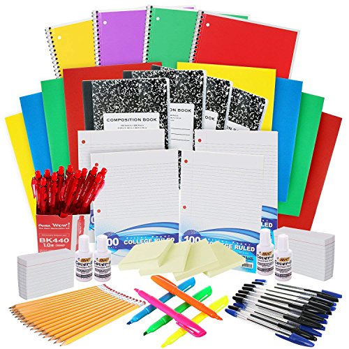 Back to School Supplies Kit: The Complete Classroom Supply Bundle - Bulk Set of 33 School Essentials for All Grades - College Ruled Paper, Pens, Pencils, Notebooks & More Stuff