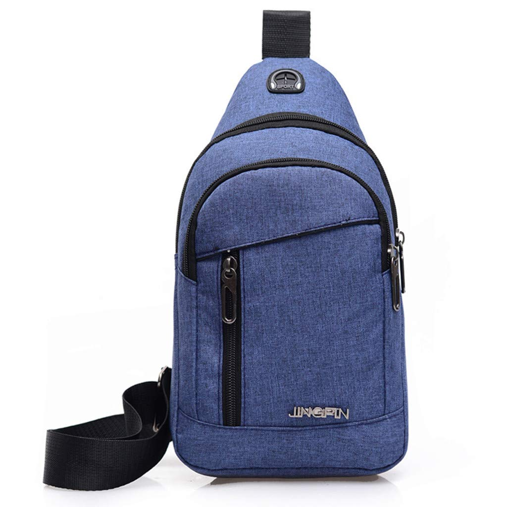 Rakkiss Men Chest Bag Fashion Oxford Cloth Crossbody Bag Zipper Pocket One Shoulder Bag Daily Sports Pocket Bag