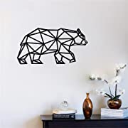 Funlife Geometric Animals Vinyl Bear Wall Stickers Decor For Wall Decoration A Variety Of Colors To Choose From Kids Wall Decals (black)