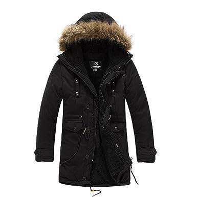 Zicac Men's Luxury Faux Fur Long Winter Trench Coat Jacket Hooded ...