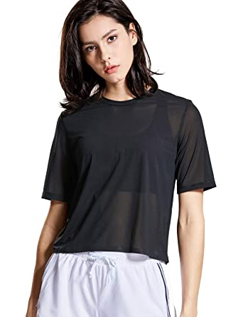 2db4d8adee43a CRZ YOGA Women s Mesh Short Sleeve Moisture Wicking See Through Bonded Hem  Cropped Sport Shirts Black