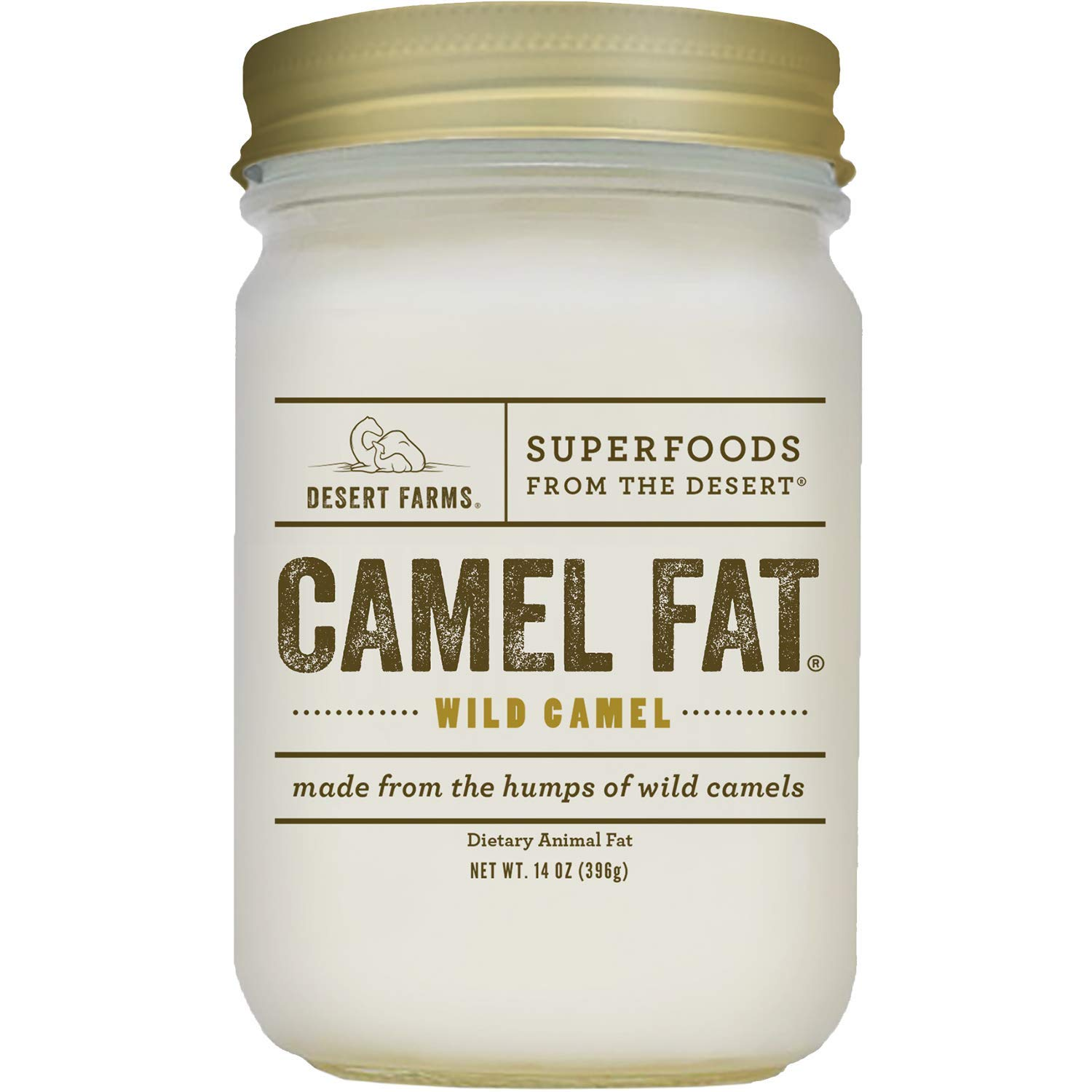 Desert Farms - Real Organic Cooking Camel Hump Fat - Paleo and Keto Certified - Quickly Melting Use For Fry [High Smoke Point] - 31 Fatty Acids & Gluten-Free - Made In The USA [14 oz]