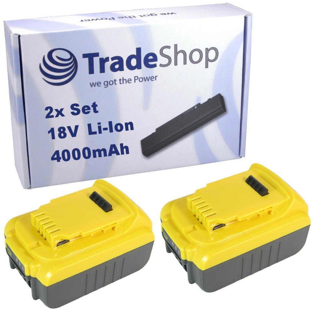 TradeShop 2x Hochleistungs Li-Ion Akku 18V / 4000mAh ersetzt Dewalt DCB180 DCB181 DCB181-XJ DCB182 DCB183 DCB185 DCB203 DCB204 DCB200 DCB201 DCB201-2