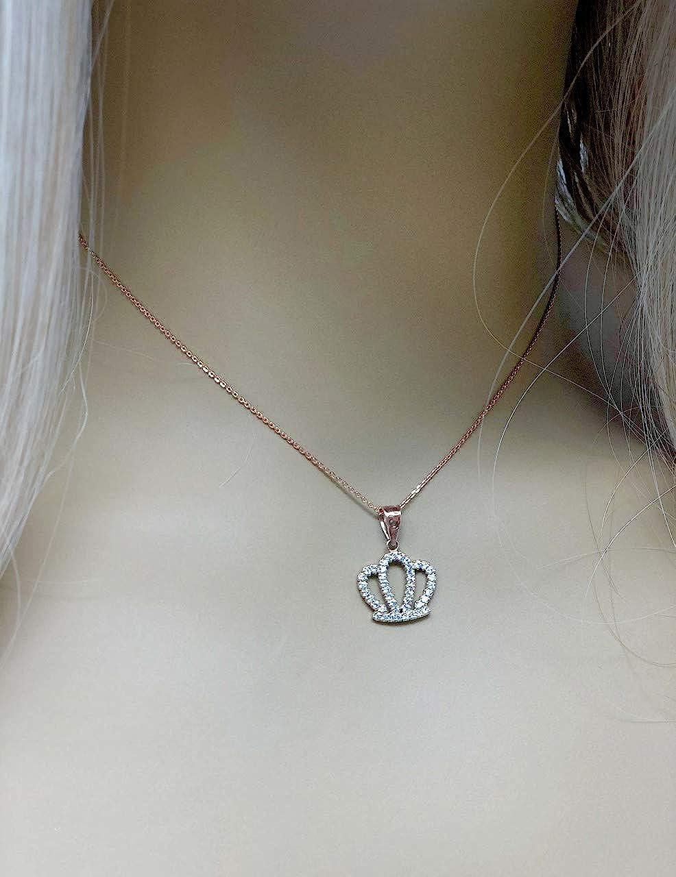 Exquisite 14k Rose Gold Radiant Diamond Royal Crown Pendant Necklace