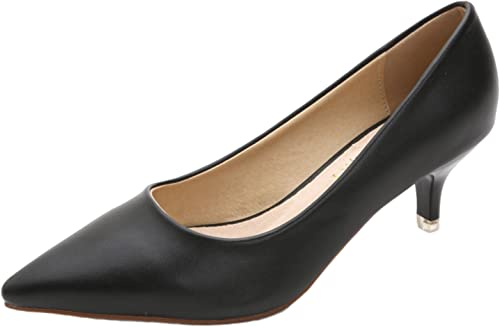 DADAWEN Women's Pointed Toe Kitten Heel