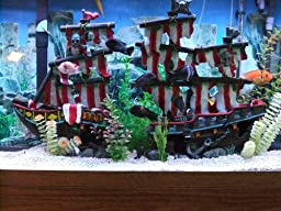 Penn plax striped sail shipwreck aquarium for Fish tank pirate ship