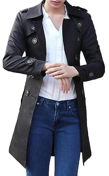 Snone Donna Trench Classico Autunno e Inverno Cappotto Lungo Giacca  Transition Stile Europeo Fashion Slim Fit Trench Coat Doppio Petto Giacca  Calda con ... 84c16332b35