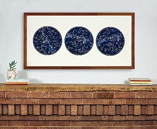 Large Horizontal Star Map, Large Constellation Cosmos Triptych Large Star Chart
