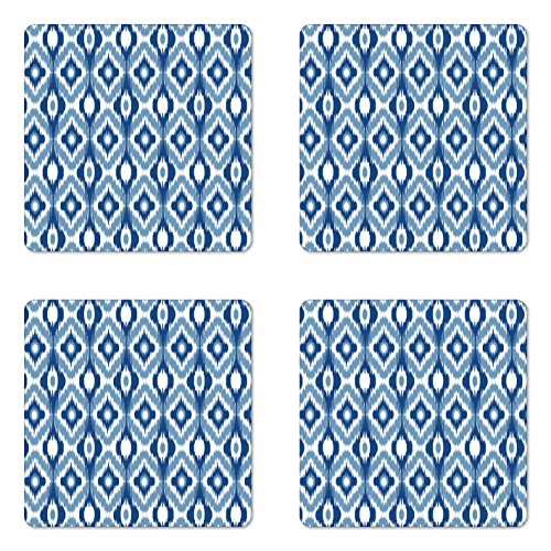 (Ambesonne Ikat Coaster Set of 4, Ikat Design with Regular Multi-Shaft Loom Uneven Twill Trend Motif, Square Hardboard Gloss Coasters for Drinks, Blue White )