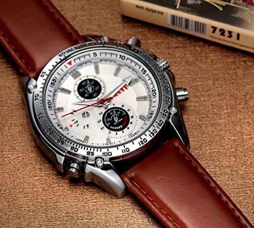 chronograph steel glass leather pl dome stainless mens belt watches