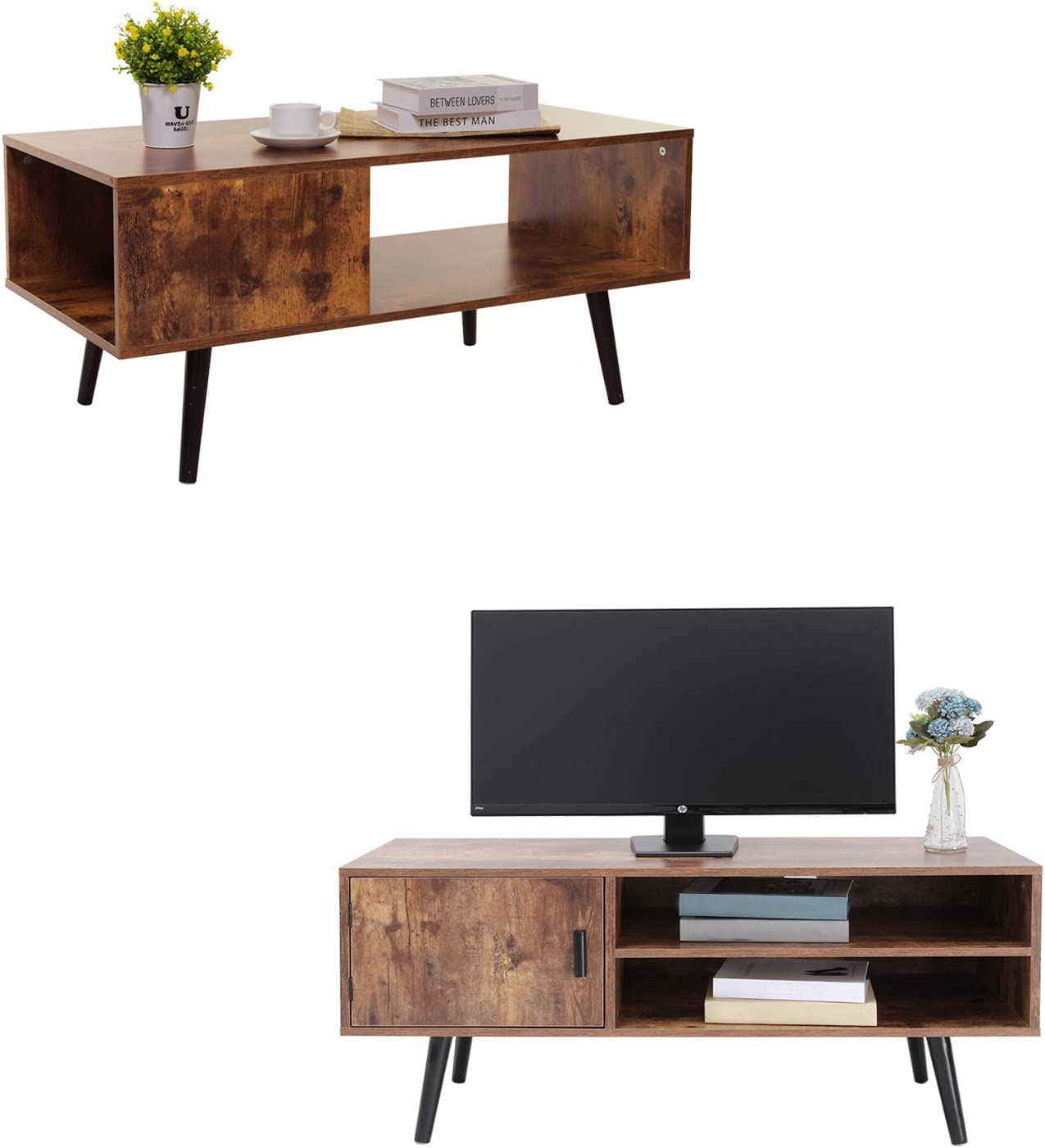 USIKEY Mid-Century Modern Coffee Table & TV Stand with with 2 Storage Shelves&Door, Retro Rectangular Cocktail Table, Retro Entertainment Center, TV Table, Sofa Table, Rustic Brown