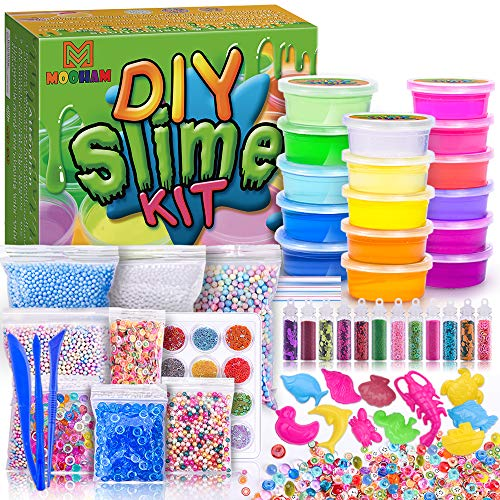 (MOOHAM DIY Slime Kit Supplies - Clear Crystal Slime Making Kit for Girls, Floam Slime for Kids, Slime Foam Beads, Glitter , Fruit Slices and Fishbowl Beads Included)