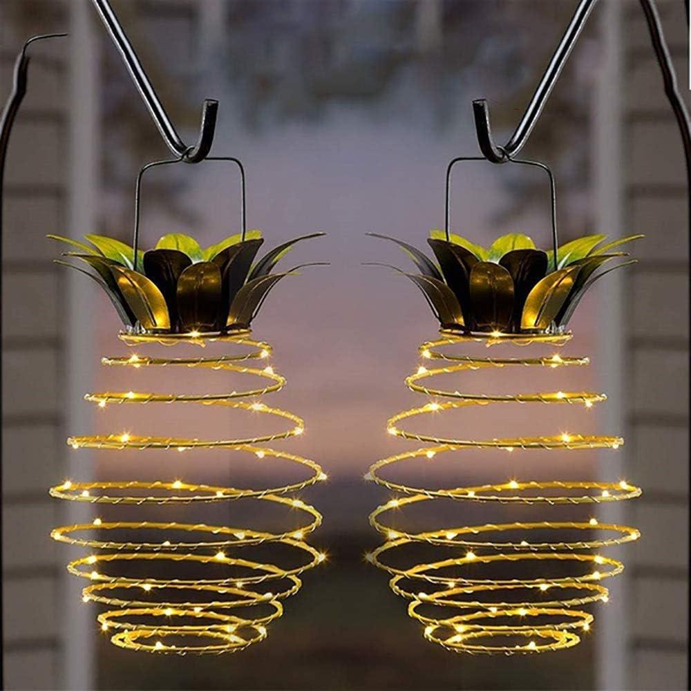 smggt 2pcs Solar Lantern Lights Fairy String Light Pineapple Iron Art Garden Outdoor Dancing Flame Waterproof Lamp Path Light Lawn Patio Yard Landscape Lighting Christmas Decoration Party Supplies