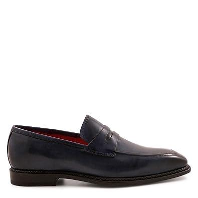 Men's 5205Blu Blue Leather Loafers