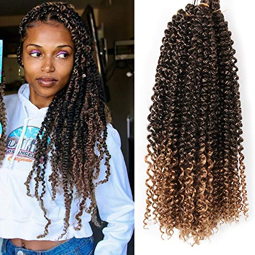 AliLeader Passion Twist Hair 6 Packs 18 Inch Ombre Passion Twist Hair Synthetic Crochet Braiding Hair Extensions Water Wave Super Soft lightweight Natural Passion Twist Hair (#T-27)