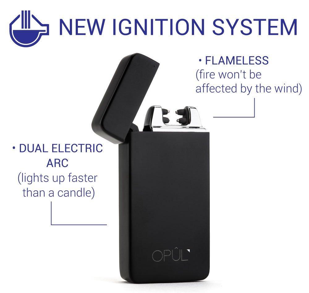 Briquet Double Arc Électrique, Briquet USB Electrique Sans Flamme, Briquet Tesla Rechargeable à l\'Epreuve du Vent, avec Câble, Briquet de Poche à Allumage Sans Gaz en Toute Sécurité pour par Opul