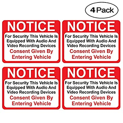 "(4 Pack) Notice Vehicle is Equipped with Audio and Video Recording Devices Consent by Entering Sticker - Self Adhesive 2½ X 3½"" 4 Mil Vinyl Decal - Indoor & Outdoor Use - UV Protected & Waterproof -"