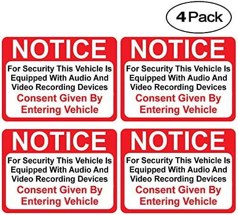 (4 Pack) Notice Vehicle is Equipped with Audio...