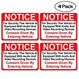 (4 Pack) Notice Vehicle is Equipped with Audio and Video Recording Devices Consent by Entering Sticker - Self Adhesive 2½ X 3½' 4 Mil Vinyl Decal - Indoor & Outdoor Use - UV Protected & Waterproof -