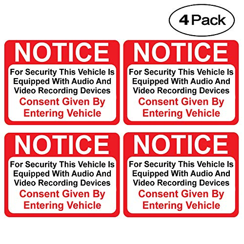 (4 Pack) Notice Vehicle is Equipped with Audio and Video Recording Devices Consent by Entering Sticker - Self Adhesive 2½ X 3½ 4 Mil Vinyl Decal - Indoor & Outdoor Use - UV Protected & Waterproof -
