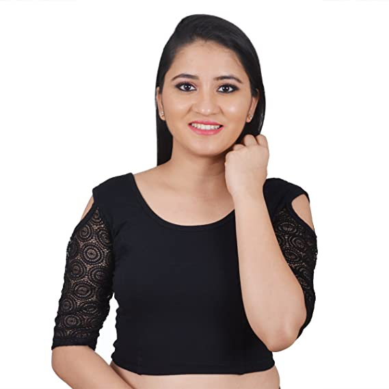 f06e5539cd0fb Salwar Studio Black Cotton Lycra Cold Shoulder Stretchable Readymade Free  Size Saree Blouse for Women  Amazon.in  Clothing   Accessories