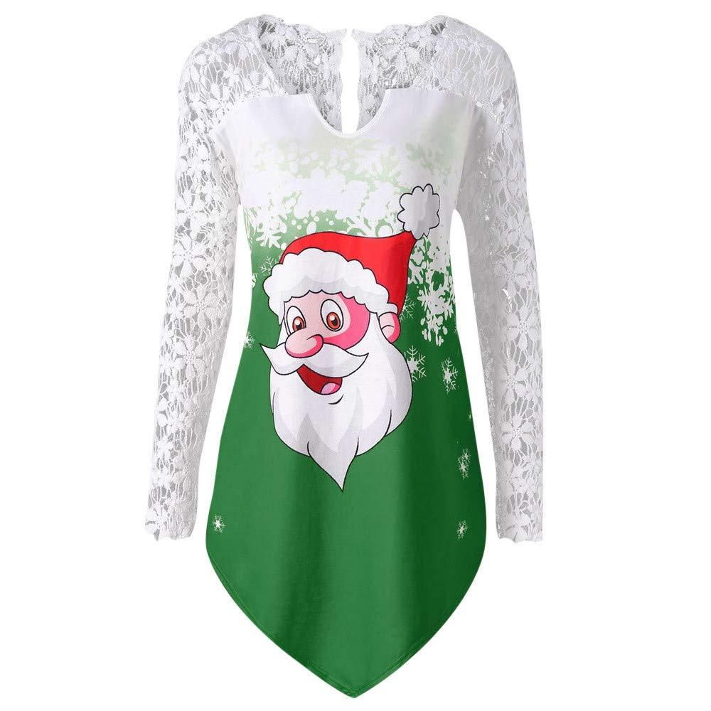 AMUSTER Damen Weihnachten Langarm Sweatshirt Hemden Pulli Mode Frauen Frohe Weihnachten Spitze Panel Weihnachtsmann Drucken T-shirt Tops Bluse mit V-Ausschnitt