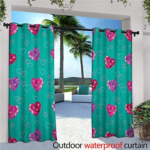Astoria Crystal Clear (Teal Patio Curtains Crystal Hearts Gemstone Figures Love Valentines Day Celebrating Romantic Print Outdoor Curtain for Patio,Outdoor Patio Curtains W84 x L108 Red Fuchsia Teal)