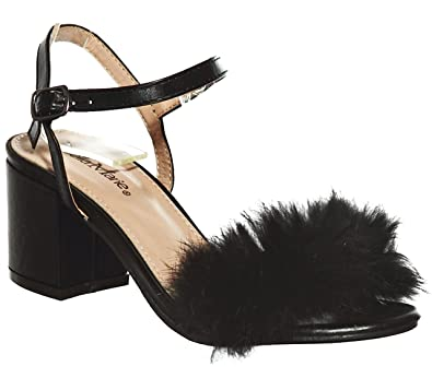 a09683c5f98 shoewhatever Fluffy Feather Strap Low Heel Shoes (5.5