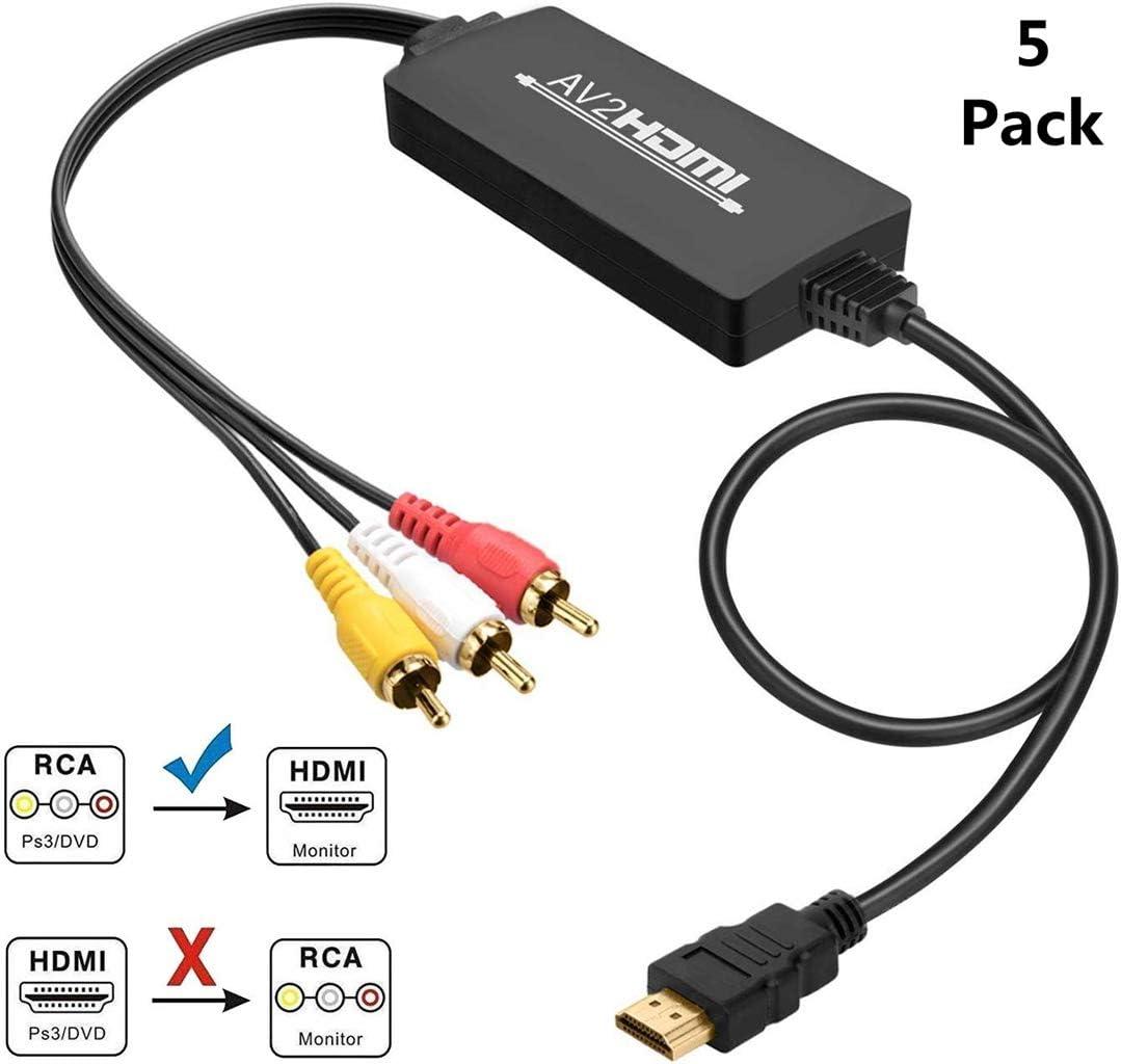 5 X RCA A HDMI Convertidor De Cable AV Al Adaptador De HDMI 3 RCA Compuesto De Audio Video Converter Apoyo para El Ordenador Portátil PC 1080P PS3 PS4 STB TV, VCR