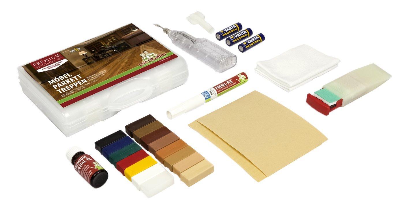 Picobello G61412, Set Premium per riparazioni per superfici in legno oleate, mobili e scale in parquet e laminato