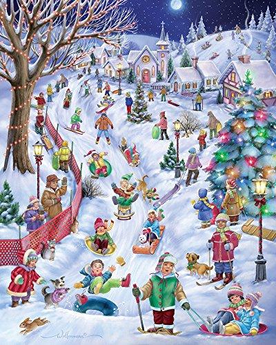 Vermont Christmas Company Sledding Hill Jigsaw Puzzle 1000 Piece