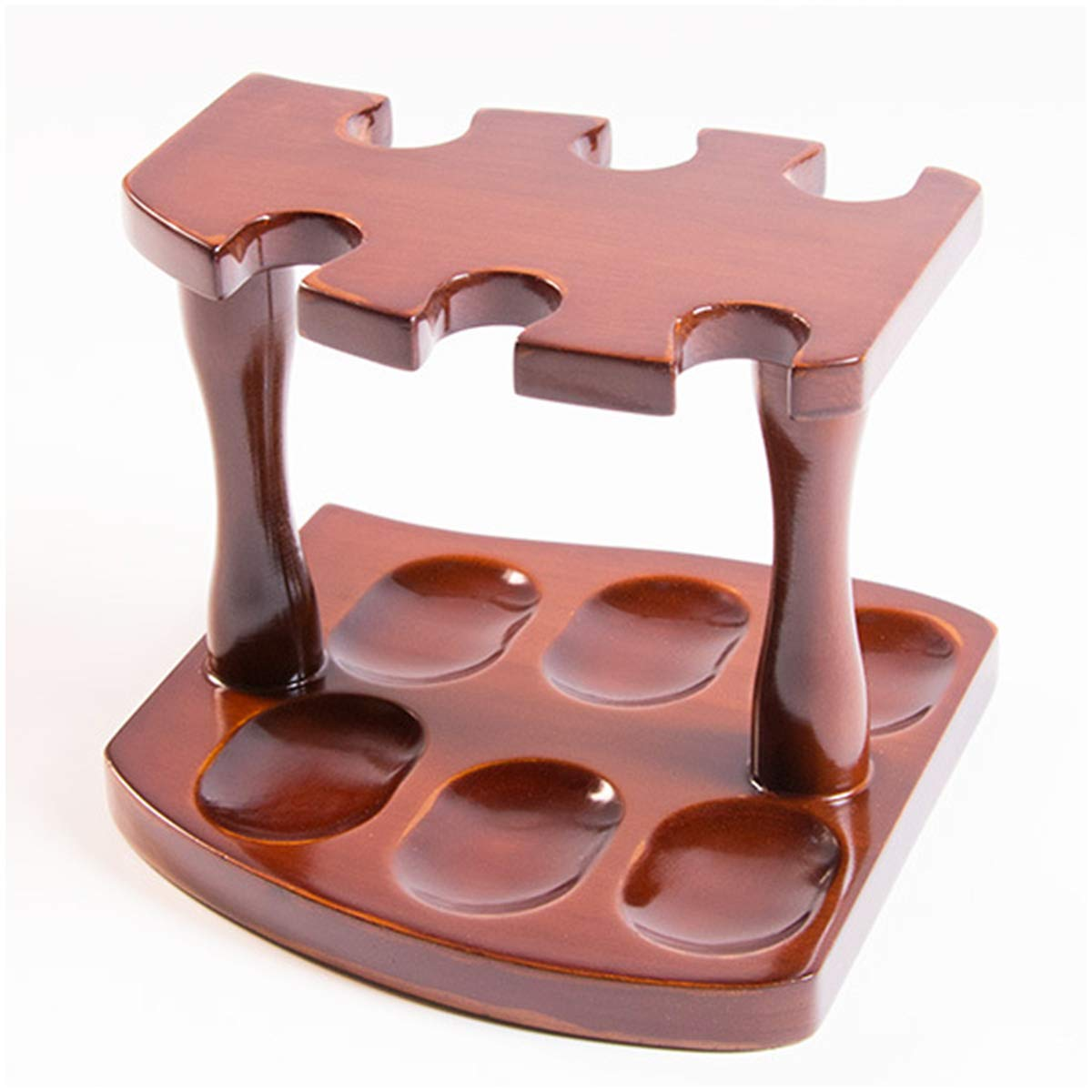 LUCKFY 6 Pipe Wood Tobacco Pipe Stand Rack Holder Wooden Pipe Stand Top-Table Rack Display,Handmade by LUCKFY