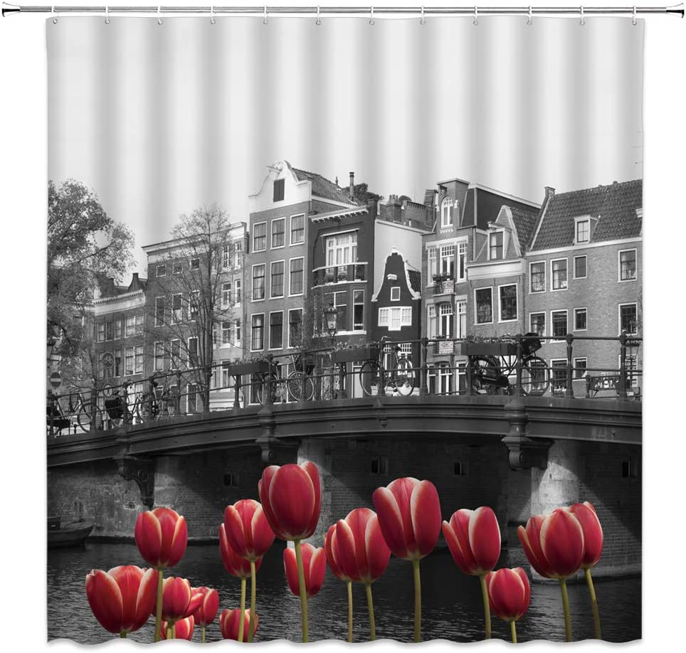 Tulip Shower Curtain Red Flower European City Monochrome Photo of Amsterdam Canal Red Tulips Houses Bathroom Curtains Decor Polyester Fabric Quick Drying 70X70 Inches Include Hooks …