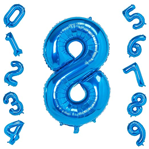 Globos grandes de 40 pulgadas con números azules 8, globos ...