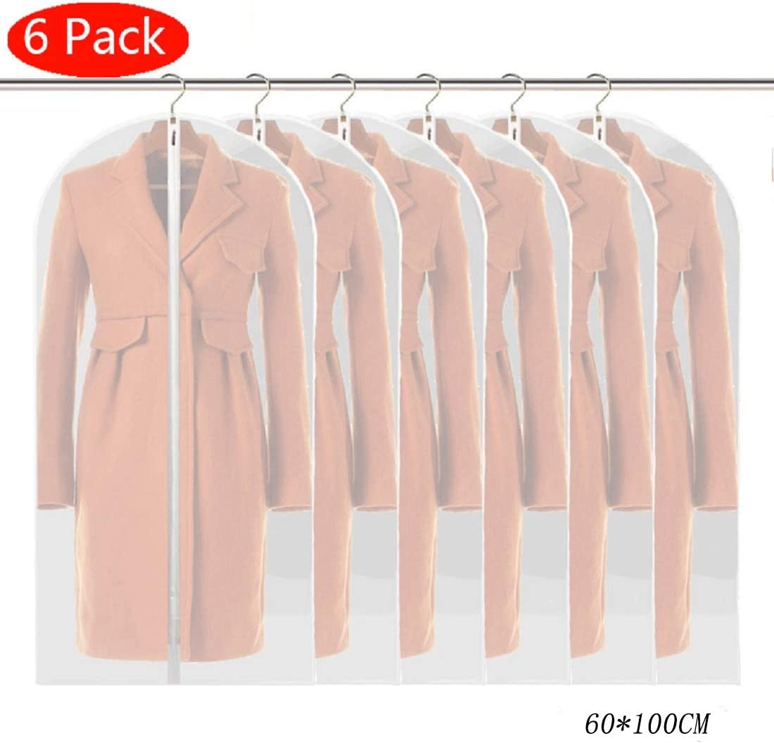 24 x 48 Suit Bags Breathable Moth Proof Garment Cover with Full Zipper for Long Dress Dance Costumes Suits Gowns Coats Linseray 6 Pack Hanging Garment Bag