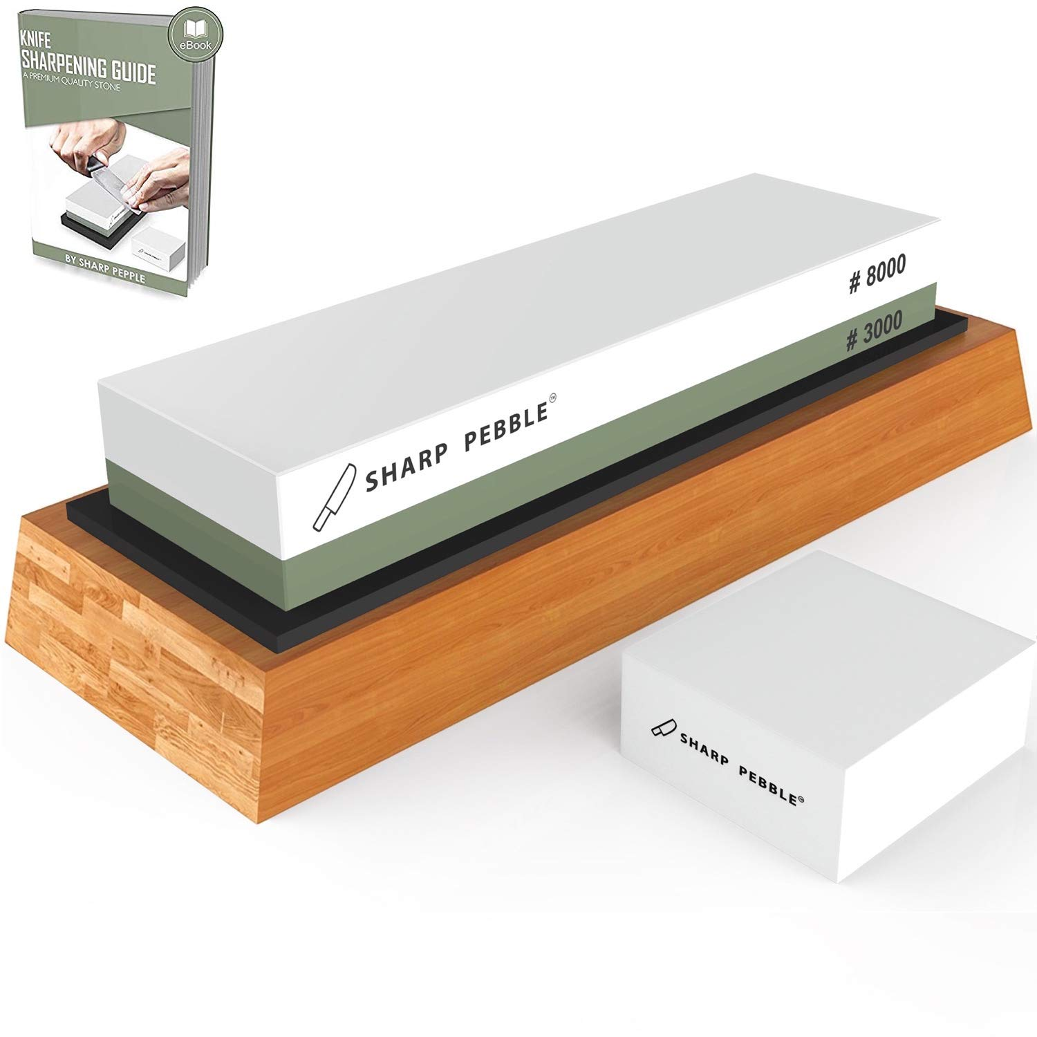 Premium Sharpening Stone 2 Side Grit 3000/8000 Whetstone | Best Kitchen Knife Sharpener Waterstone with Non-Slip Bamboo Base & Flattening Stone by Sharp Pebble (Image #1)