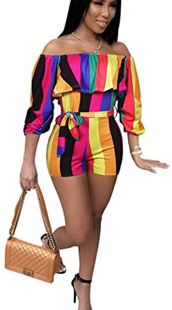 0165bdb25da Amazon.com  Rompers for Women Summer Sexy Short Jumpsuit African Floral  Vacation Club Outfit  Clothing