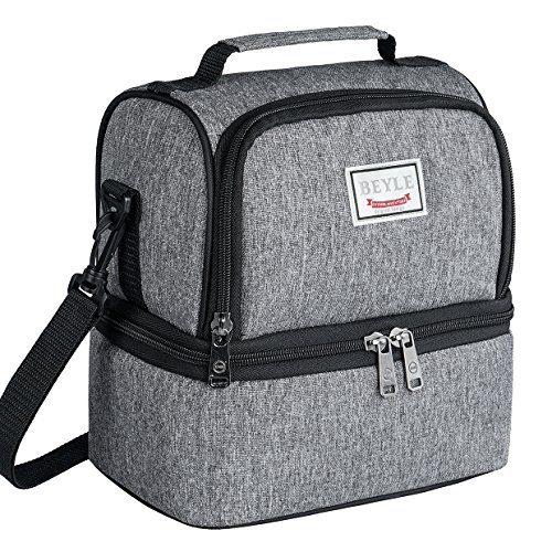 Cotton Square Handbag Shoulder Bag - Lunch Box, Beyle Insulated Lunch Bag for Men & Women Kid, Mens Large Refrigerated Lunch Box Cooler Tote Bag, Double Deck Cooler (Grey)