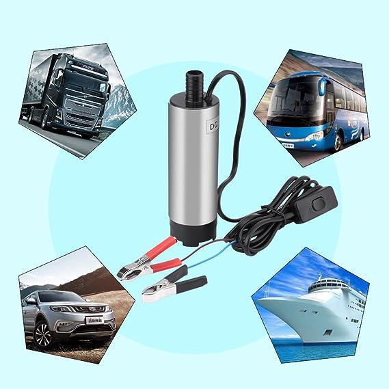 Qiilu QL05016 DC 12V 51mm Elettropompa sommergibile per Il Trasporto di Olio combustibile Diesel ad Acqua sommergibile