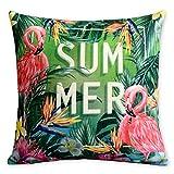 Summer Time Tropical Plant Flamingo Pillowcase Fresh Green Leaves Cushion Decorative Pillow Home Décor Sofa Throw Pillow Cover 1818inches