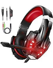 VersionTECH. Auriculares Gaming Estéreo Profesional Bass Over-Ear Con Micrófono y 3.5mm Jack, Luz LED, Bajo Ruido Compatible Para PS4 / Nueva Xbox One / PC / Ordenador Portátil (Rojo)