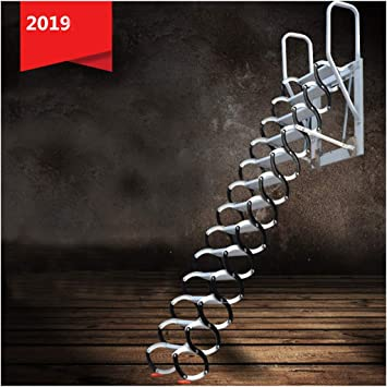 Escalera telescópica del ático montado en la pared escaleras del ático del hogar escaleras plegables plegables altura personalizada 1-3.5M (H/2.3-2.6M): Amazon.es: Bricolaje y herramientas