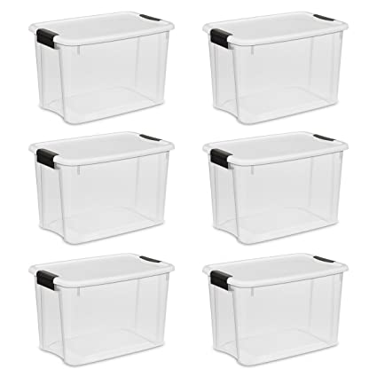 STERILITE 19859806, 30 Quart/28 Liter Ultra Latch Box, Clear With A White