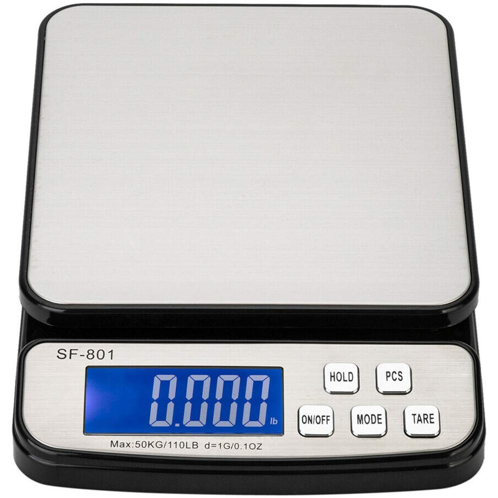 110 LB 50KG Digital Postal Scale, MOCCO Heavy Duty Stainless Steel Multifunctional Shipping Scale 0.1oz / 1g Accuracy with Large Base Counting Function for UPS USPS Floor Bench Office Weight by MOCCO