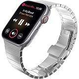 FOXROAR Correa galvanizada de Acero Inoxidable Compatible con Apple Watch 42mm 44mm, Pulsera de eslabones con Doble botón Correa de Cierre Plegable para iWatch Series 4 3 2 1, Plata