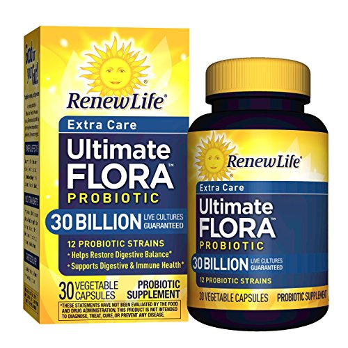 10 Probiotic Ultimate (Renew Life - Ultimate Flora Probiotic Extra Care - 30 billion - daily digestive and immune health supplement - 30 vegetable capsules)
