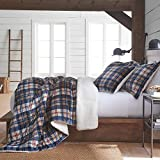 3 Piece Blue Red Brown Plaid Pattern Comforter King Set, Elegant Cabin Lodge Madras Checkered Design Print, Soft & Warmth Sherpa Material Reverse Bedding, Classic Style, Splash Colors, Polyester
