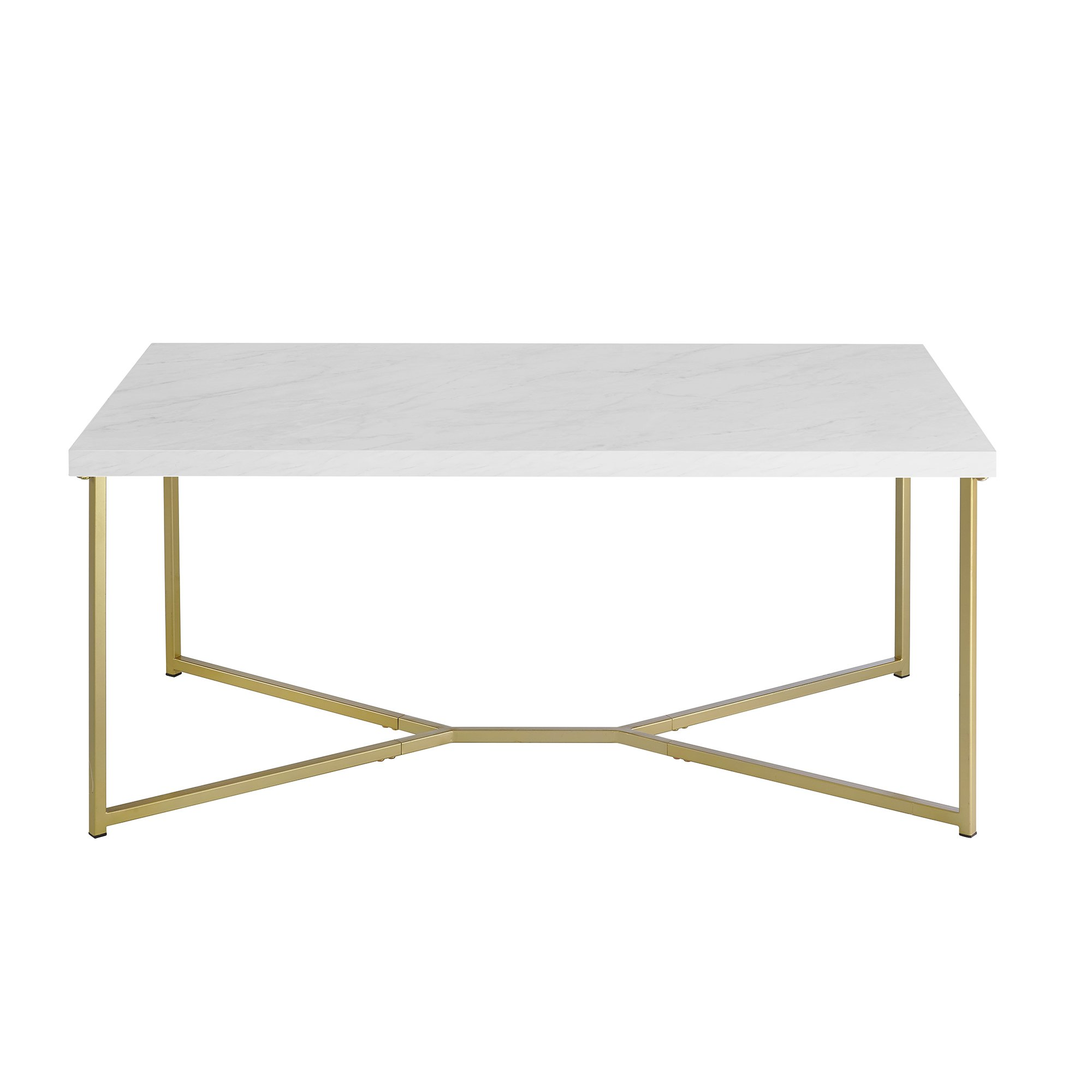 WE Furniture Short Rectangular Coffee Table Faux White Marble Top Gold Base by WE Furniture